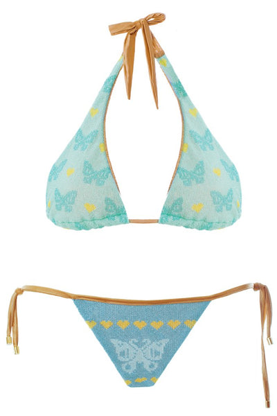 MITOS SWIMWEAR | BUTTERFLIES CIEL Light Blue Embroidered Bikini Set