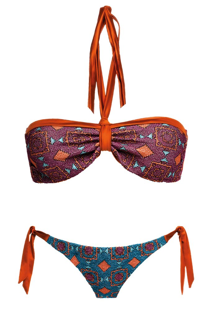MITOS SWIMWEAR | TERRACOTA Purple Embroidered Triangle Bikini Set