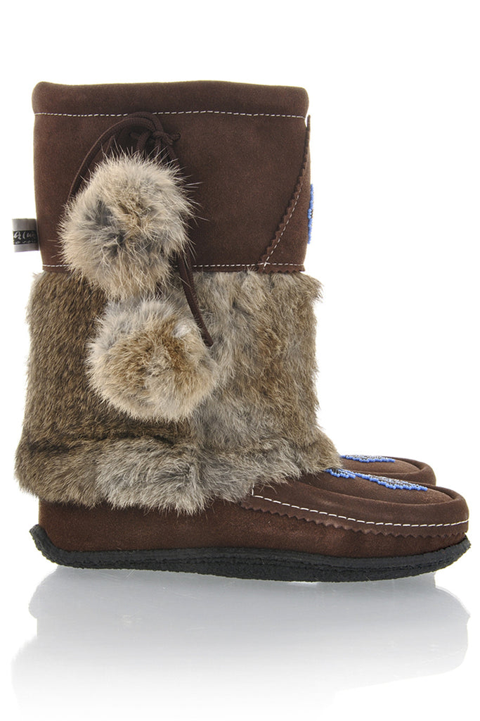 MUHLUHS Brown Suede Fur Boots