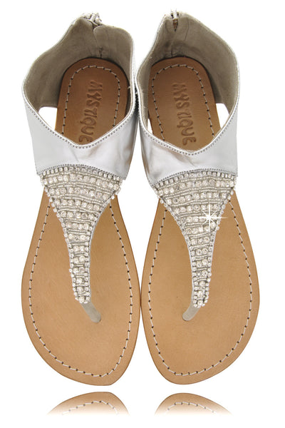 SILVER Crystal Leather Sandals