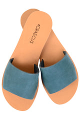 GRAECUS NIKE Blue Suede Leather Sandals Ancient Greek Sandals