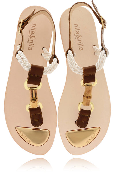 TAUNTON Brown Leather Sandals