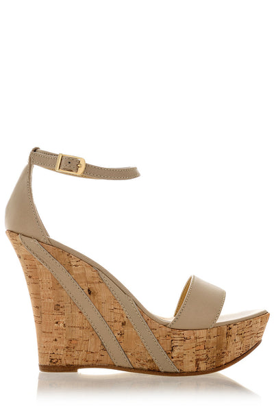 IRINA Beige Leather Platform Sandals
