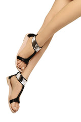 JUNO Black Leather Sandals