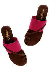 NR RAPISARDI - ADEL Fuchsia Elastic Wedges Woman Shoes Sandals
