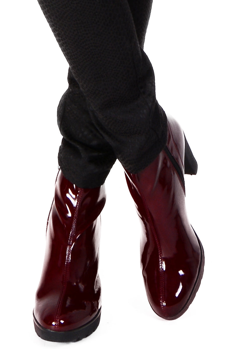 ARIADNA Bordeaux Patent Leather Ankle Boots