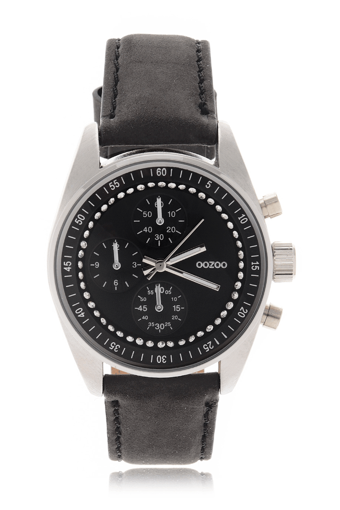 C3373 CRYSTAL Black Leather Watch