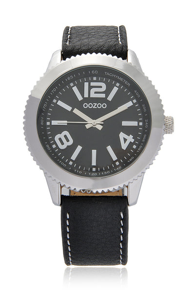 C3844 Silver Wheel Black Leather Watch