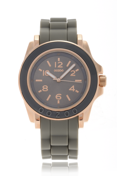 C4918 ROSE GOLD Olive Grey Silicone Watch