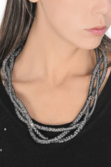 SKYLAR Black Beaded Necklace