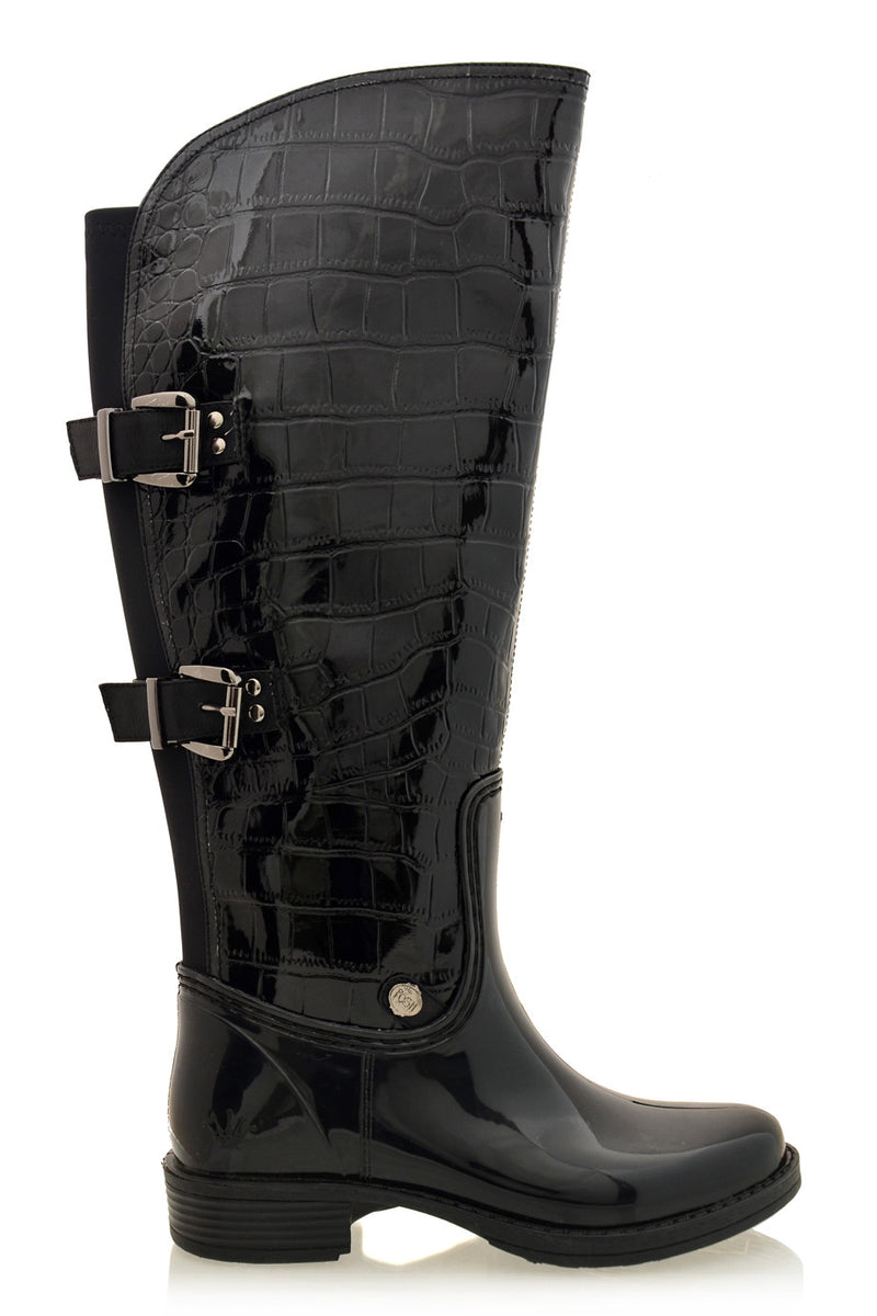 POSH WELLIES - AIDA Black Croc Patent Knee-High Boots - Women Shoes