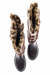 MAGNITE Camel Fur Trim Knee-High Boots