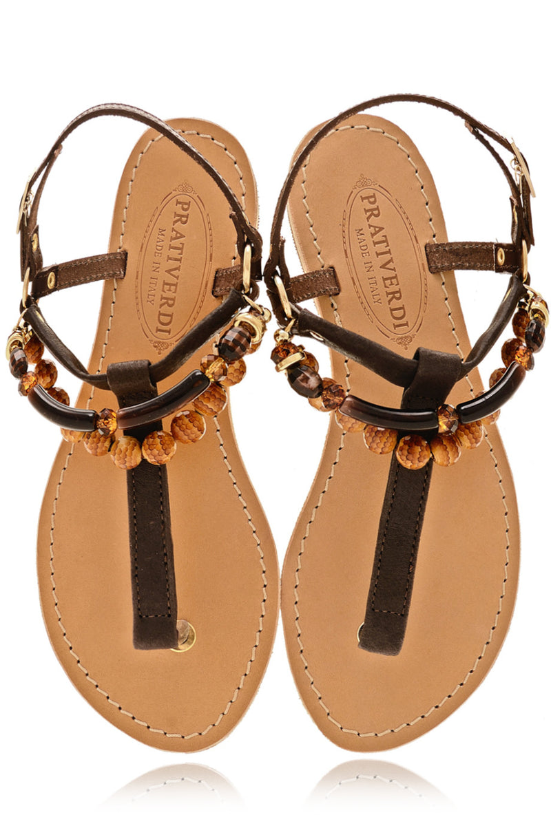 ALESSIA Beaded T-Bar Brown Leather Women Sandals