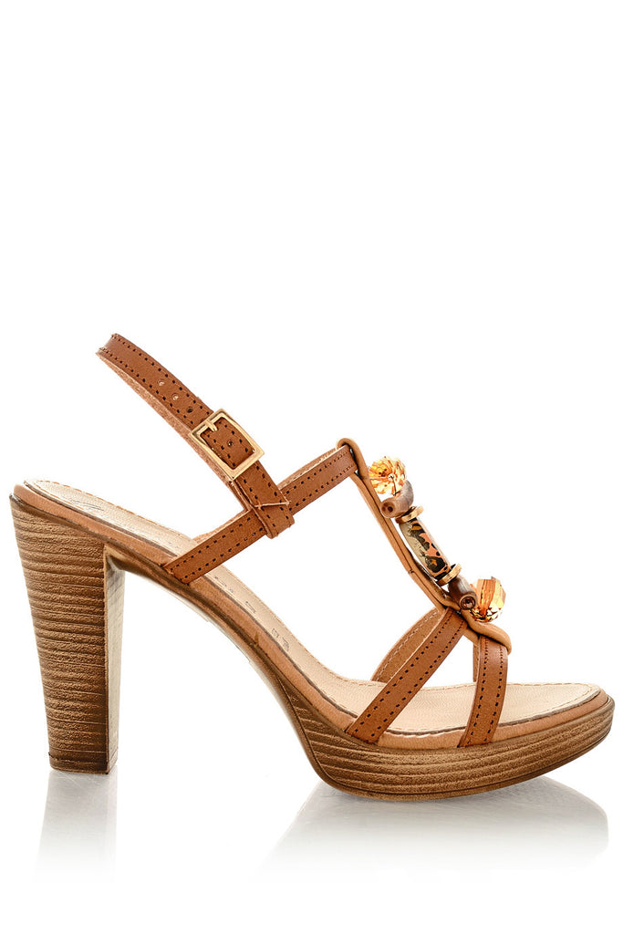 SHELLEY Brown Platform Sandals