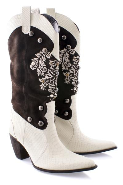 JESSICA White Leather Cowboy Boots