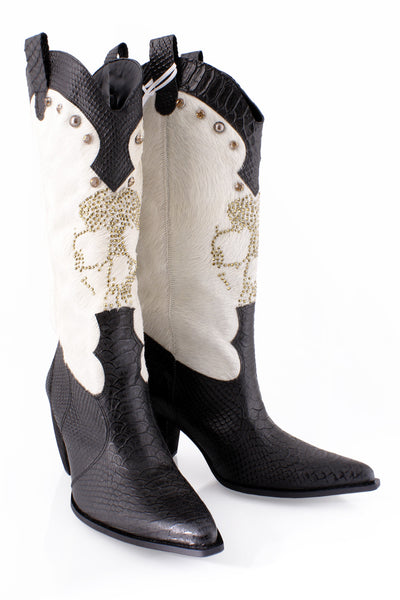 BLACK PONY Scull Cream Leather Boots