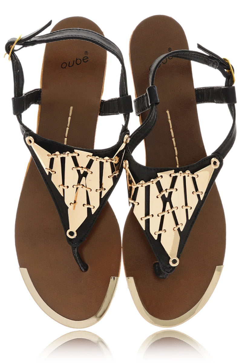 LILOU Black Metallic Sandals