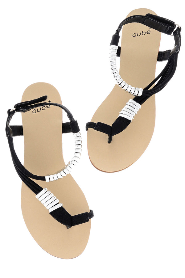 LIZ Metallic Black Sandals