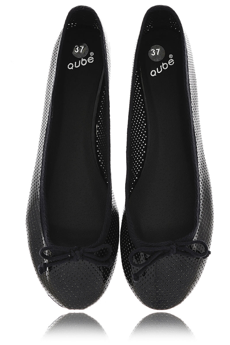 MABLE Black Perforated Ballerinas