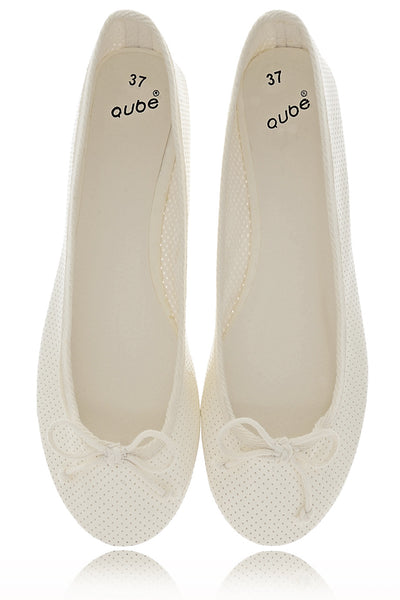 MABLE Off White Patent Ballerinas