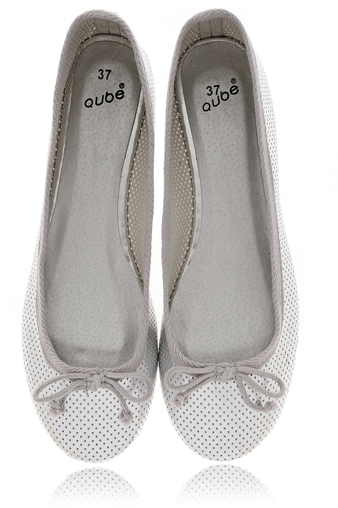 MABLE Silver Perforated Ballerinas