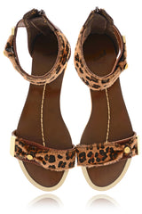 PONY LEOPARD Brown Animal Print Sandals