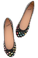 SHINA Black Polka Dot Ballerinas