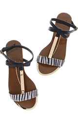 CEBRA Black Animal Print Sandals