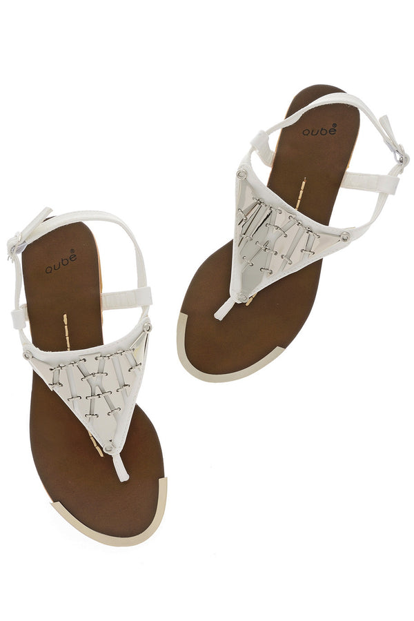 LILOU White Metallic Element Sandals