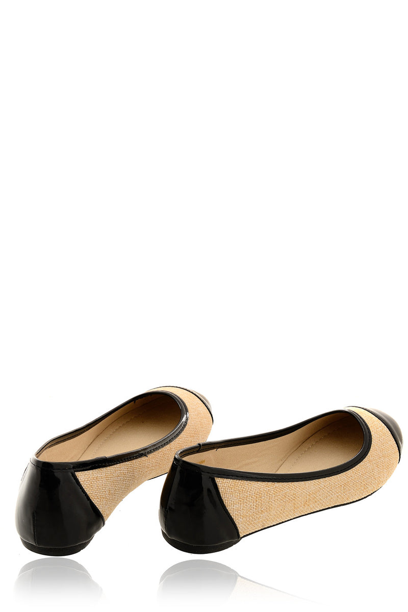 PATRICE Black Capped Ballerinas