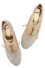 TANIA Champagne Lace Up Flat Shoes