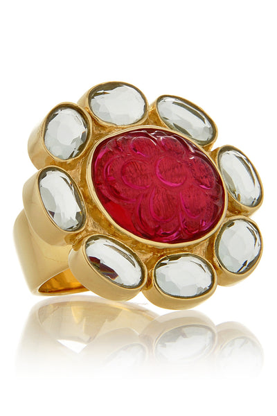 FIORE Tourmaline Fuchsia Flower Carved Ring