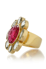 ISHARYA FIORE Tourmaline Fuchsia Flower Carved Ring