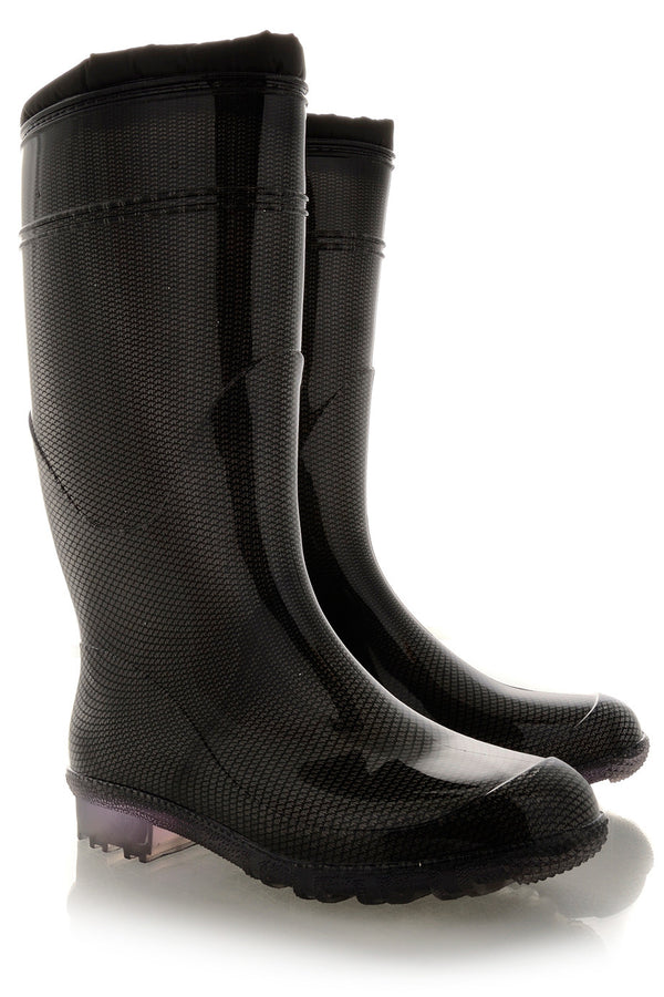 ANDES Black Lace Rubber Boots
