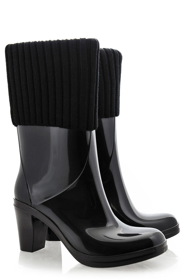 DIVA Black Patent Rubber Ankle Boots