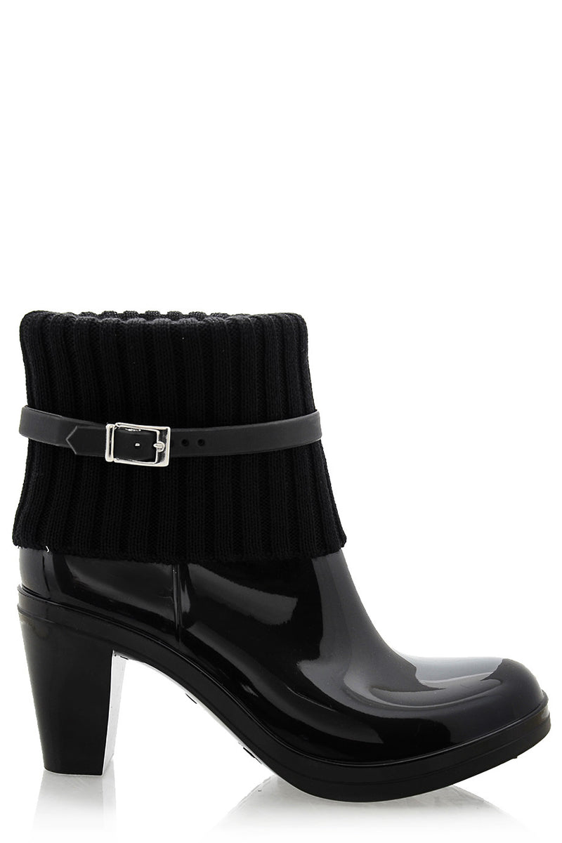 SARLOT Black Heeled Rubber Ankle Boots