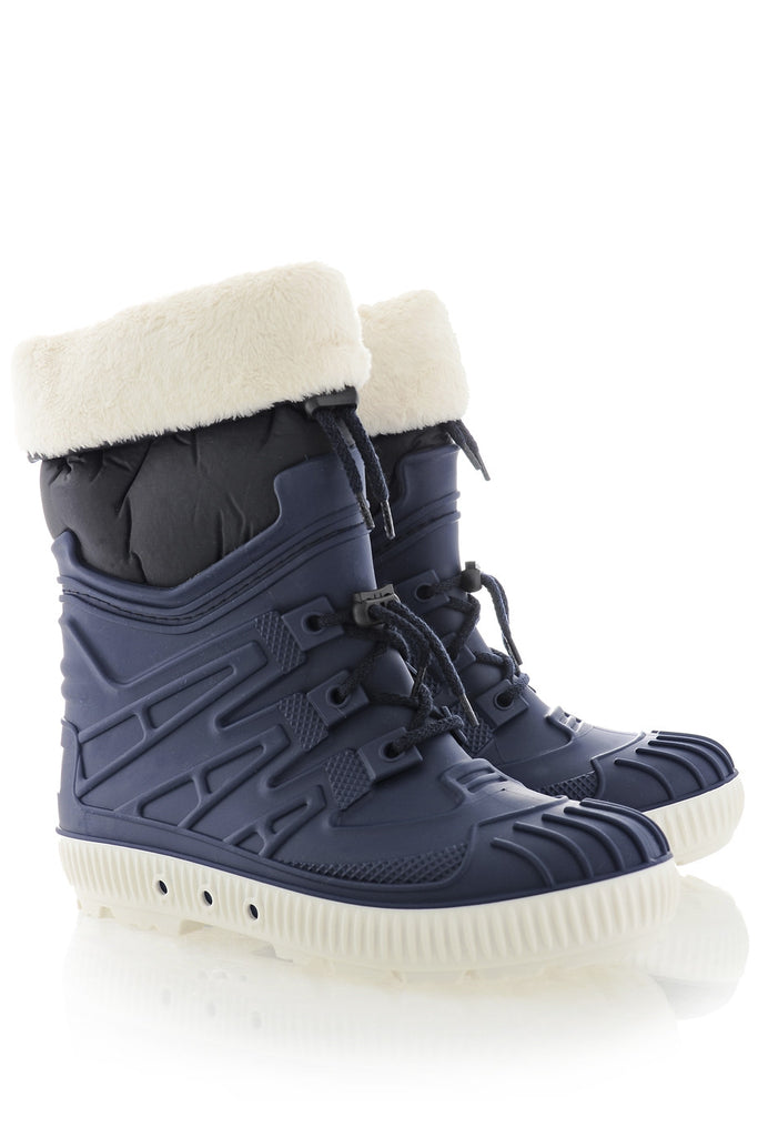 SIBEIRA Blue Fur Rubber Snow Boots