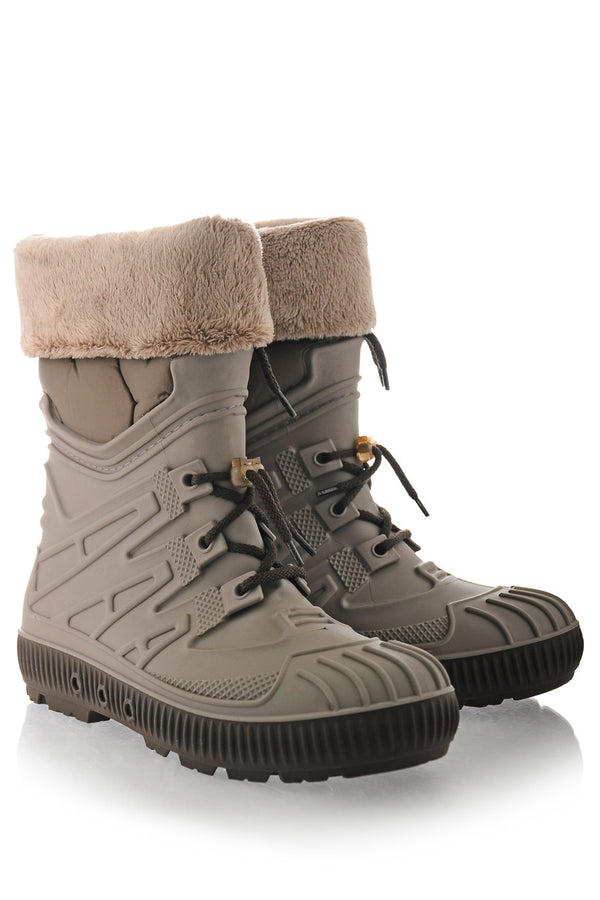 SIBEIRA Taupe Fur Rubber Snow Boots