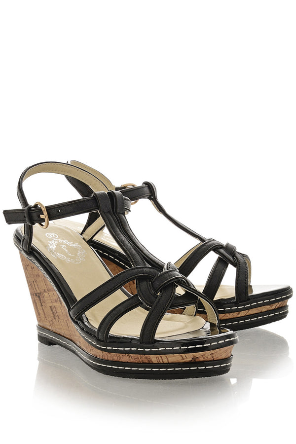 JUNE Black Cork Wedges