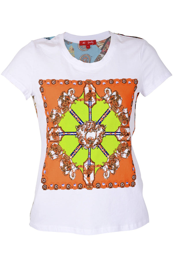 ETHNIQUE White Orange Top