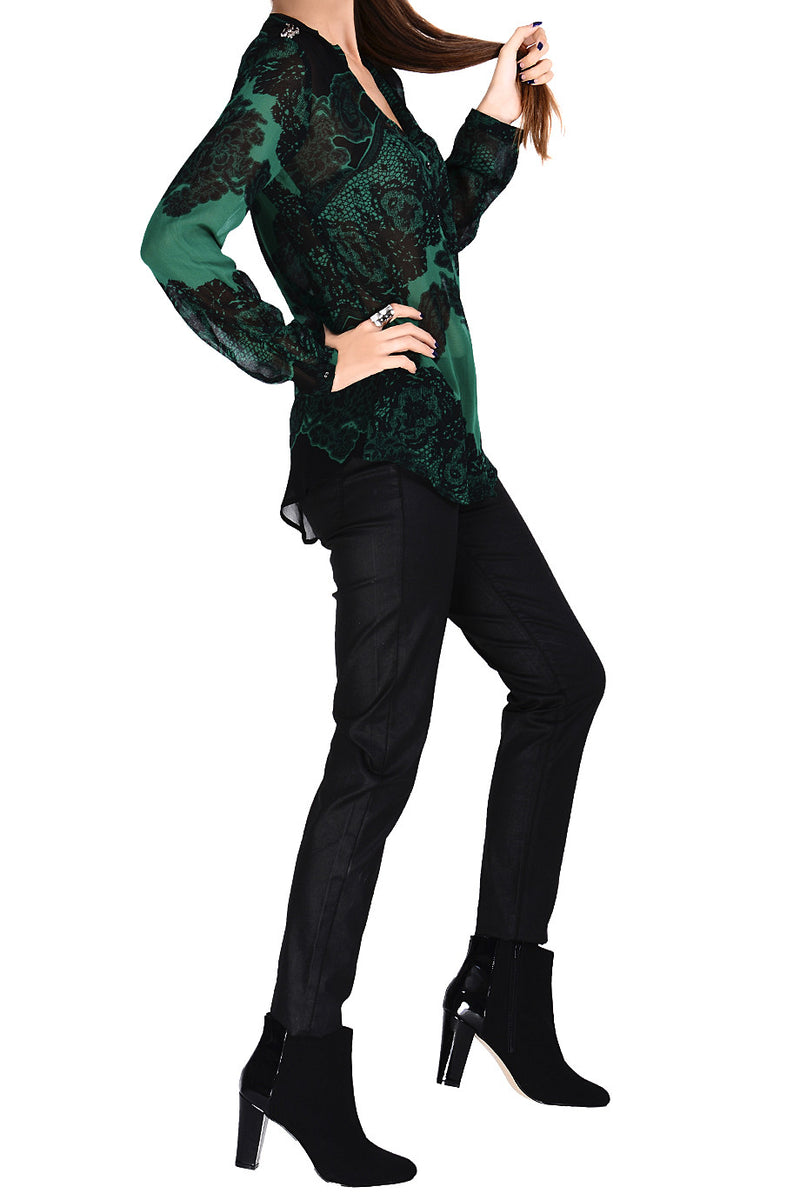 JAEDA Emerald Sheer Paisley Top