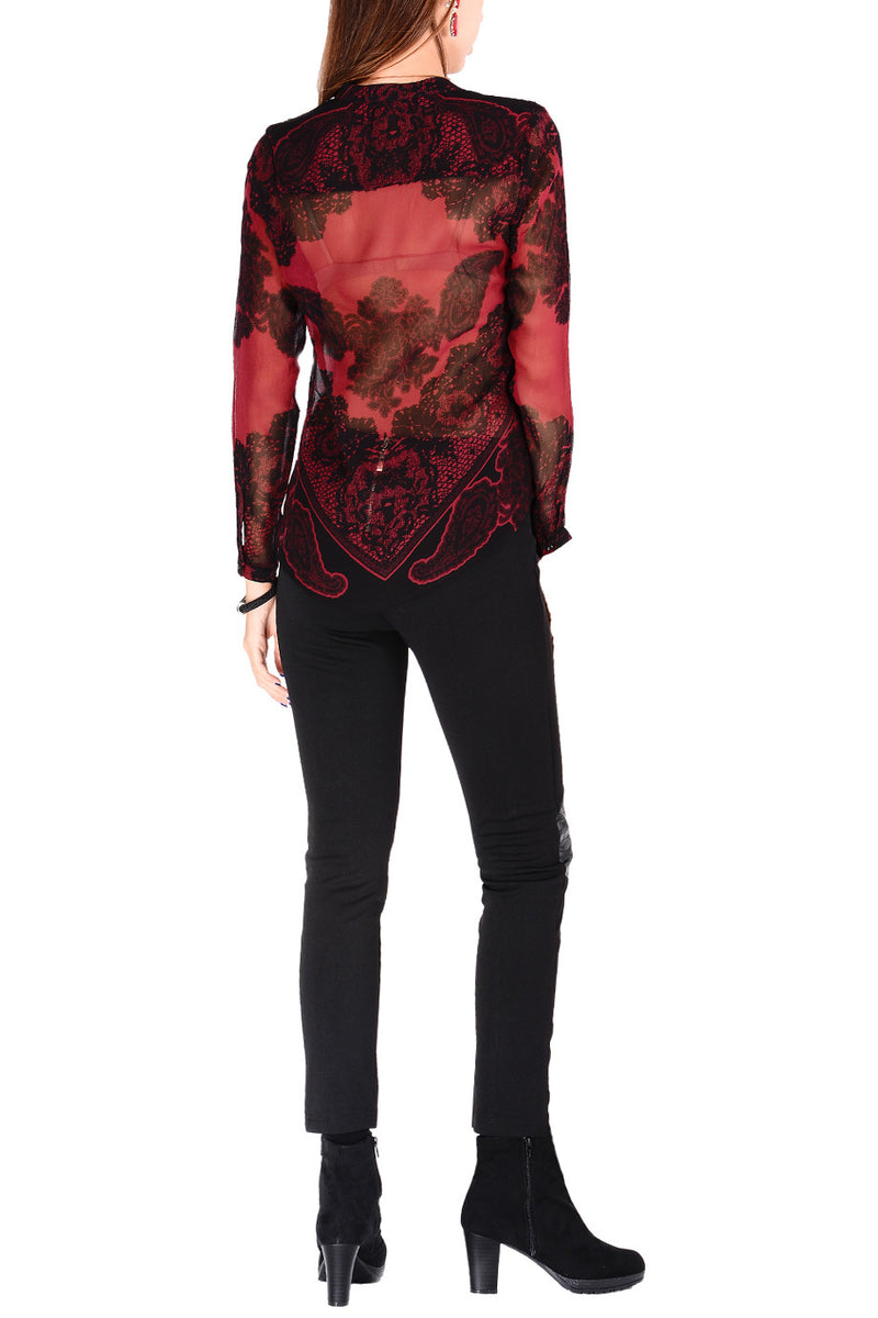 JAEDA Raspberry Sheer Paisley Top