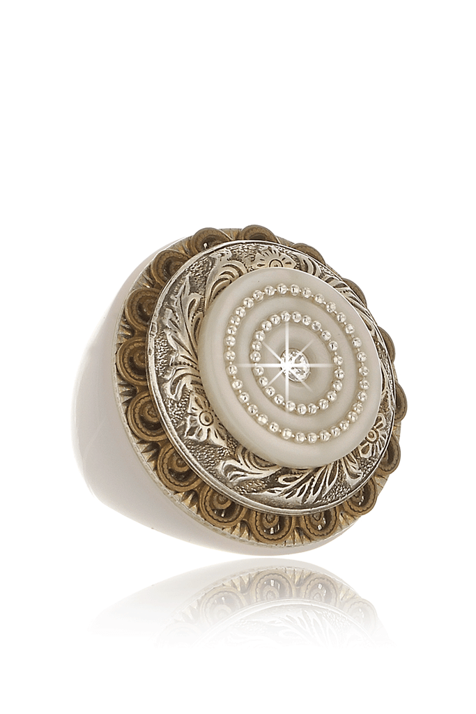 LABYRINTH White Dome Crystal Cocktail Ring
