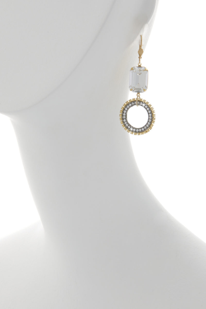 WHEEL Gold Crystal Earrings