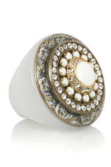 WHITE STONE Crystal Cocktail Ring