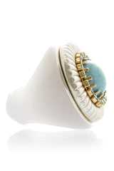 KALLIKO Turquoise Silver Cocktail Ring