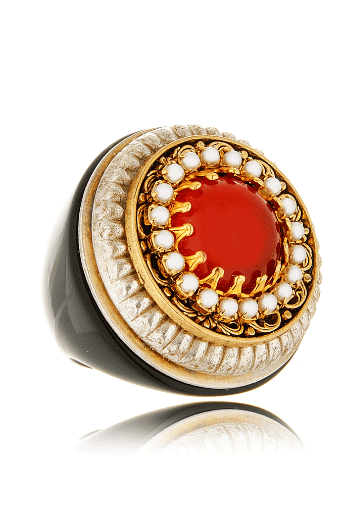 ORANGE STONE Pearl Cluster Cocktail Ring