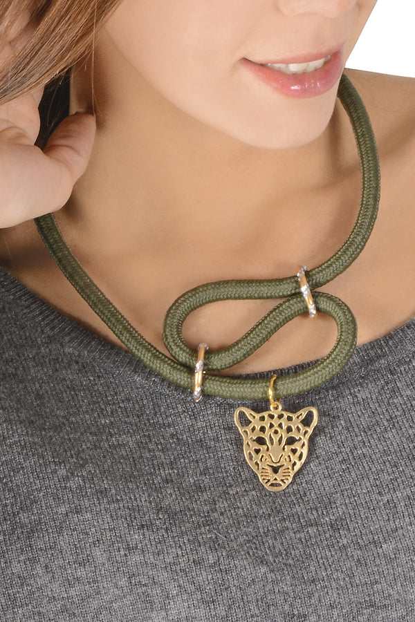 LEOPARDO Dark Olive Green Necklace