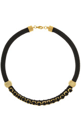 NIRA Black Crystal Cord Necklace