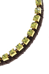 NIRA Green Brown Crystal Cord Necklace